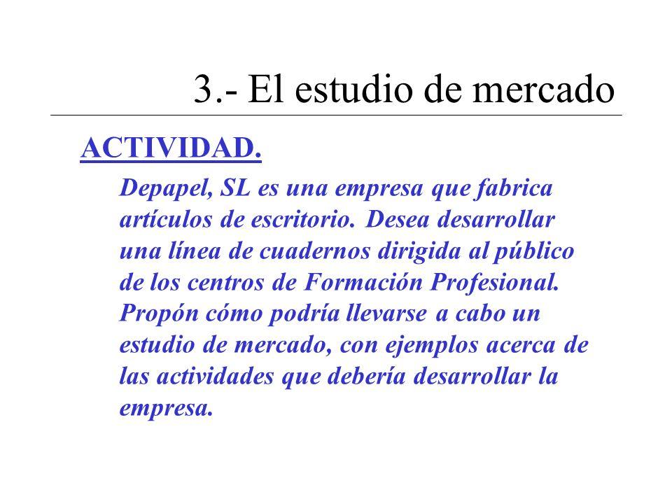 3.- El estudio de mercado ACTIVIDAD.