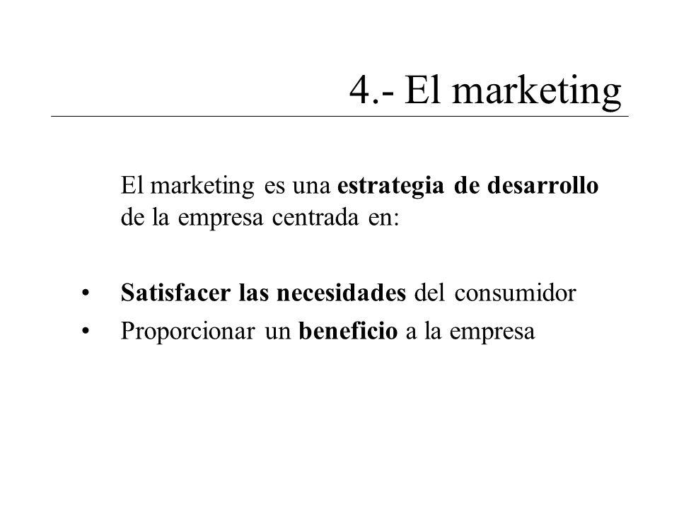 4.- El marketing El marketing es una estrategia de desarrollo de la empresa centrada en: Satisfacer las necesidades del consumidor.