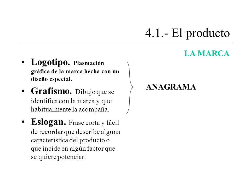 4.1.- El producto LA MARCA. Logotipo. Plasmación gráfica de la marca hecha con un diseño especial.