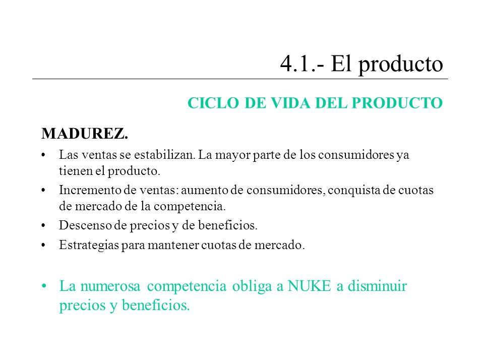 4.1.- El producto CICLO DE VIDA DEL PRODUCTO MADUREZ.