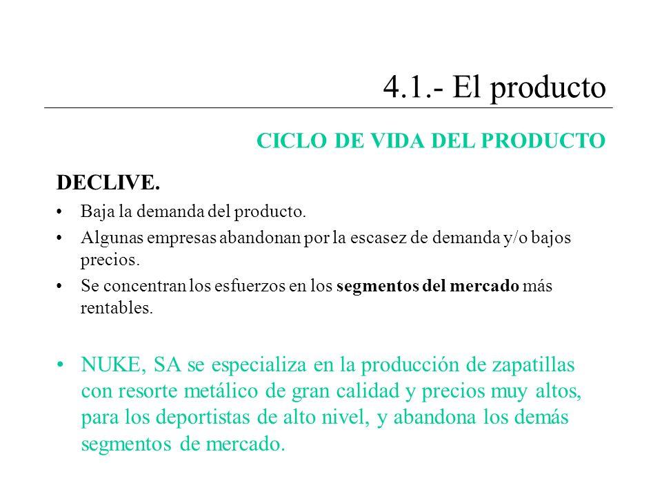 4.1.- El producto CICLO DE VIDA DEL PRODUCTO DECLIVE.