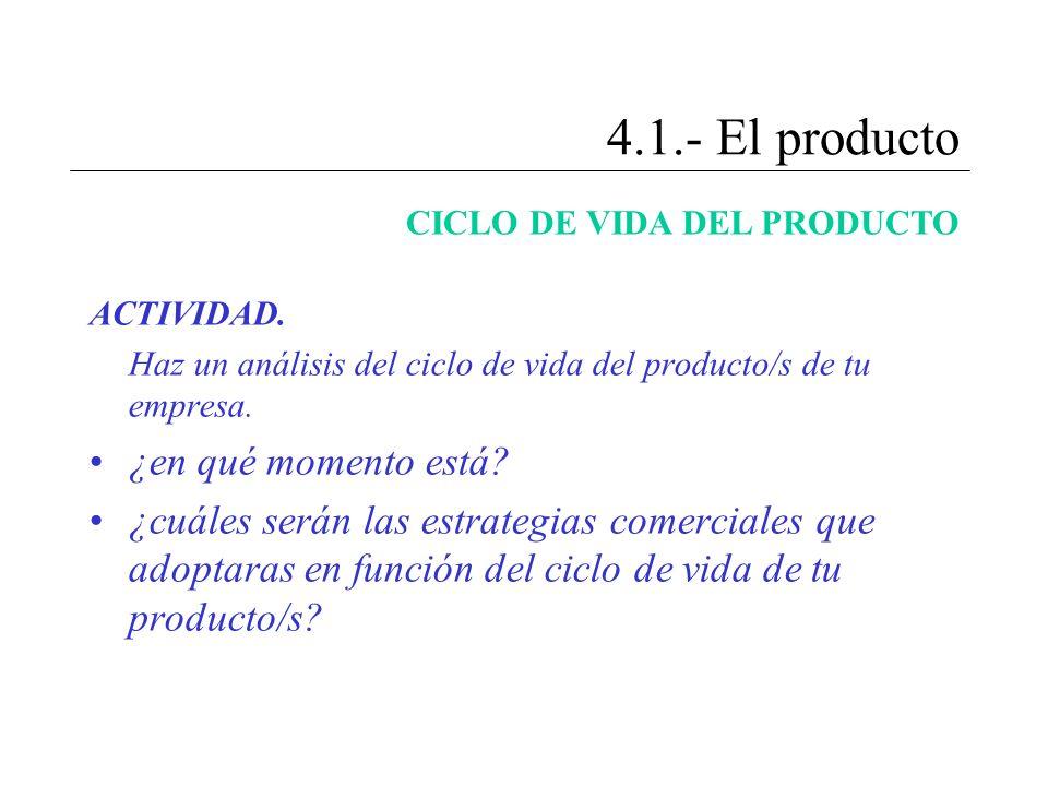 4.1.- El producto ¿en qué momento está