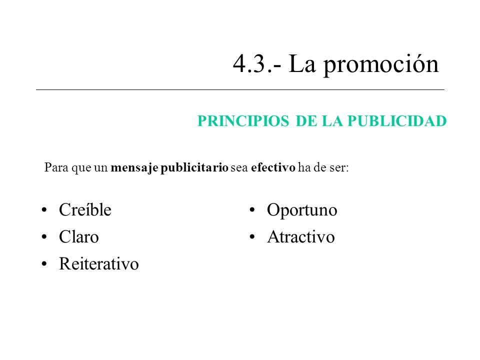 4.3.- La promoción Creíble Claro Reiterativo Oportuno Atractivo