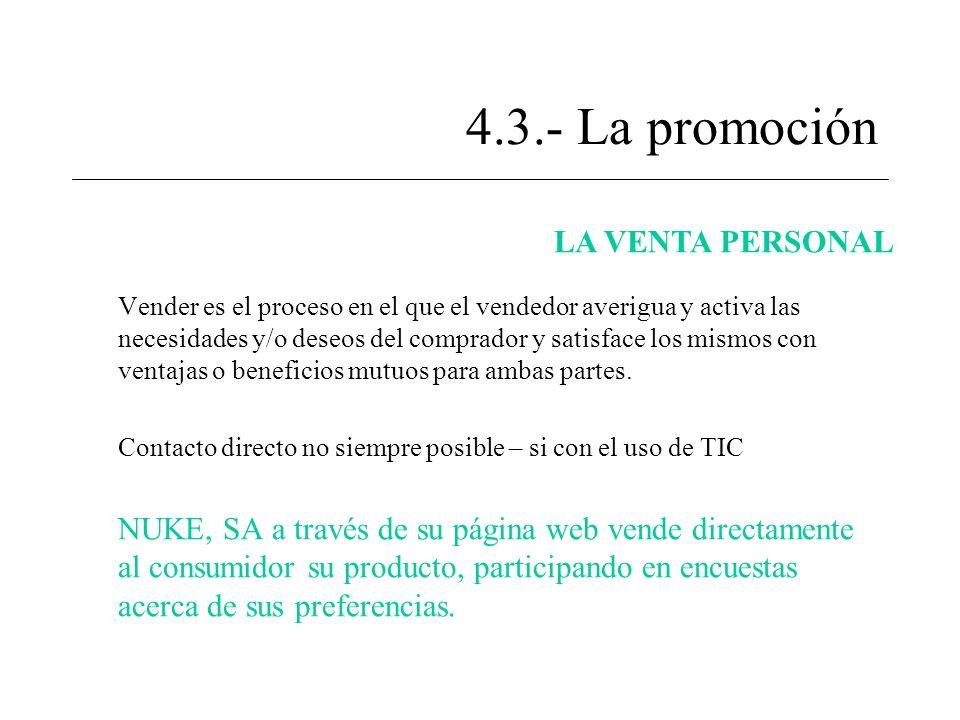 4.3.- La promoción LA VENTA PERSONAL