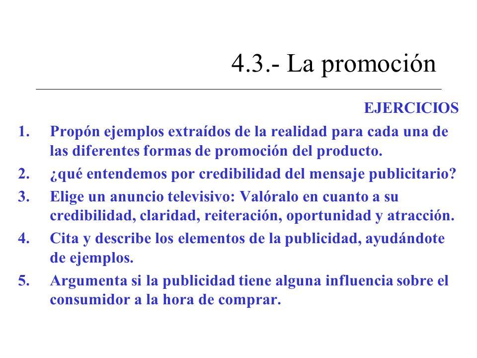4.3.- La promoción EJERCICIOS