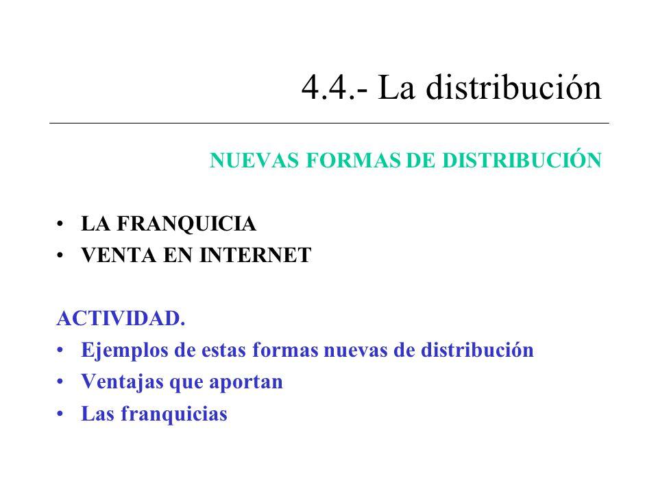 4.4.- La distribución NUEVAS FORMAS DE DISTRIBUCIÓN LA FRANQUICIA