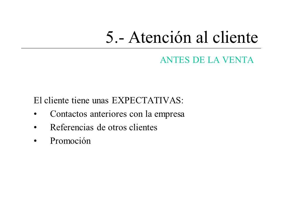 5.- Atención al cliente ANTES DE LA VENTA