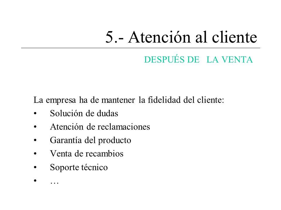 5.- Atención al cliente DESPUÉS DE LA VENTA