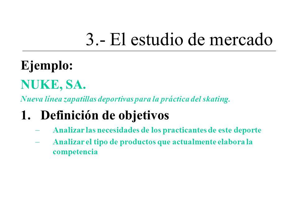 3.- El estudio de mercado Ejemplo: NUKE, SA. Definición de objetivos