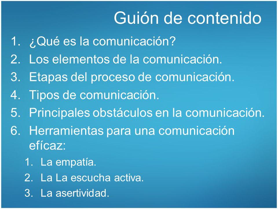 Guión de contenido ¿Qué es la comunicación