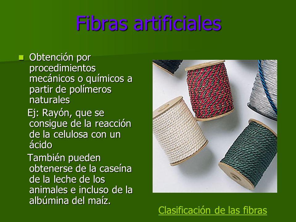 Fibras artificiales Obtención por procedimientos mecánicos o químicos a partir de polímeros naturales.