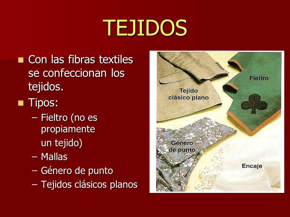 TEJIDOS Con las fibras textiles se confeccionan los tejidos. Tipos: