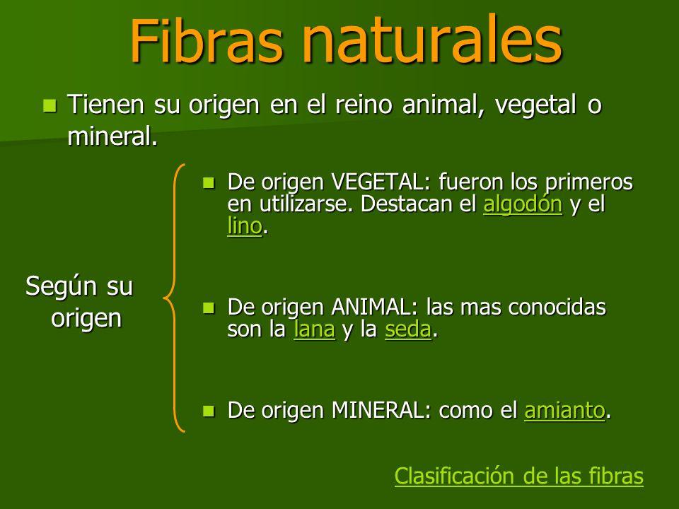 Fibras naturales Tienen su origen en el reino animal, vegetal o mineral.