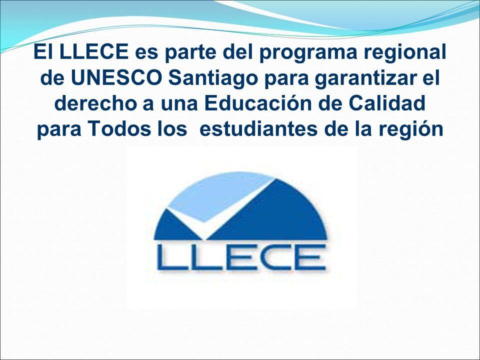 El LLECE es parte del programa regional de UNESCO Santiago para garantizar el derecho a una Educación de Calidad para Todos los estudiantes de la región