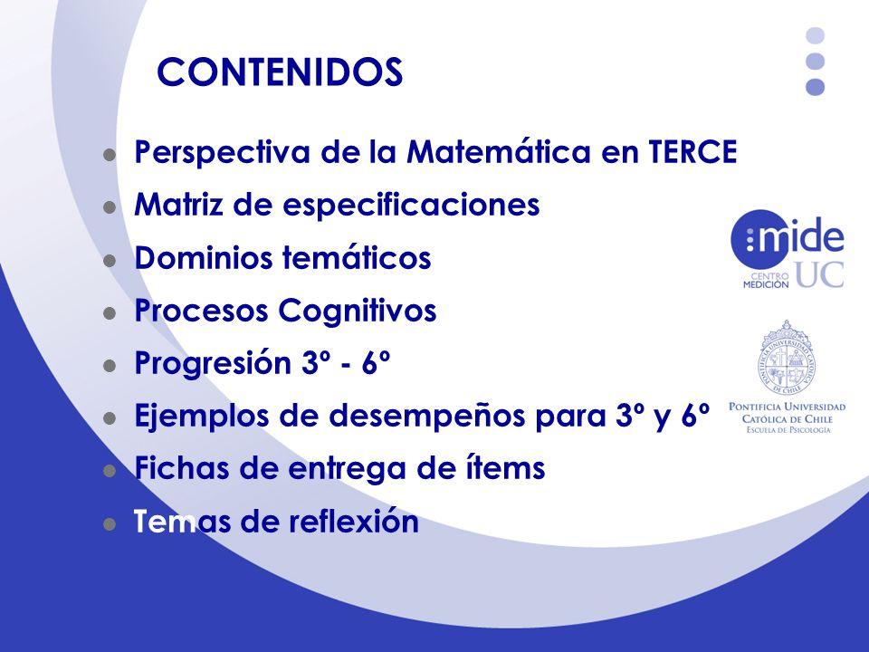 CONTENIDOS Perspectiva de la Matemática en TERCE