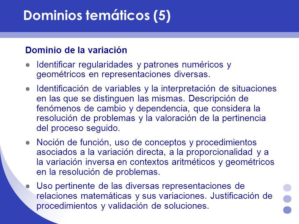 Dominios temáticos (5) Dominio de la variación