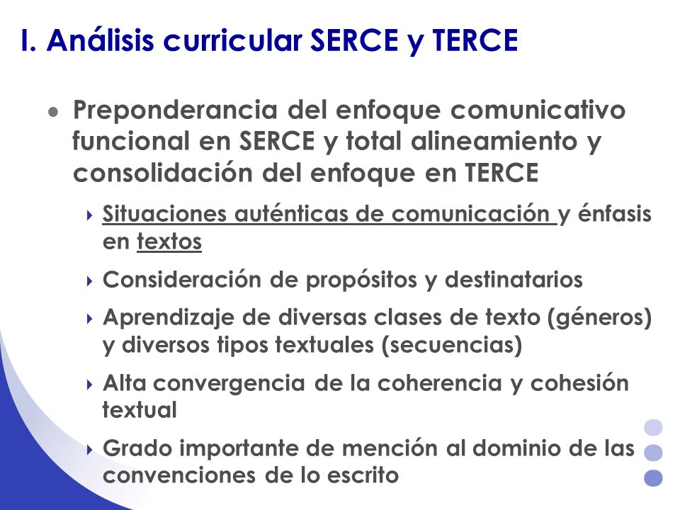 I. Análisis curricular SERCE y TERCE