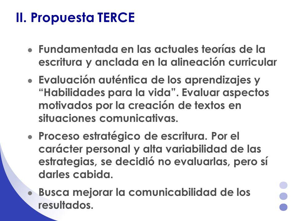 II. Propuesta TERCE Fundamentada en las actuales teorías de la escritura y anclada en la alineación curricular.