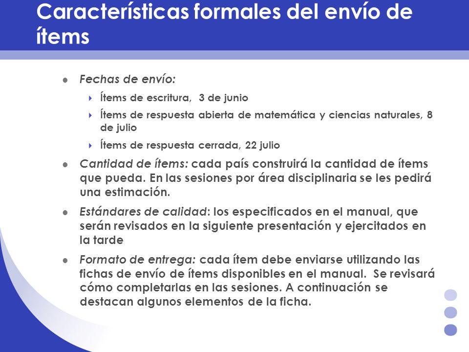 Características formales del envío de ítems