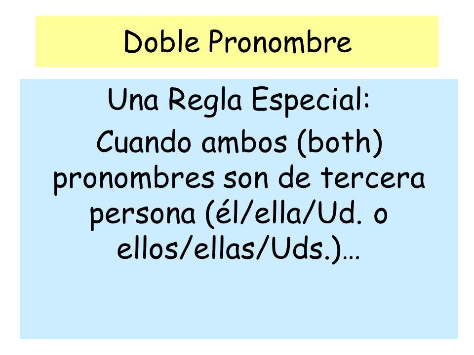 Doble Pronombre Una Regla Especial: Cuando ambos (both) pronombres son de tercera persona (él/ella/Ud.