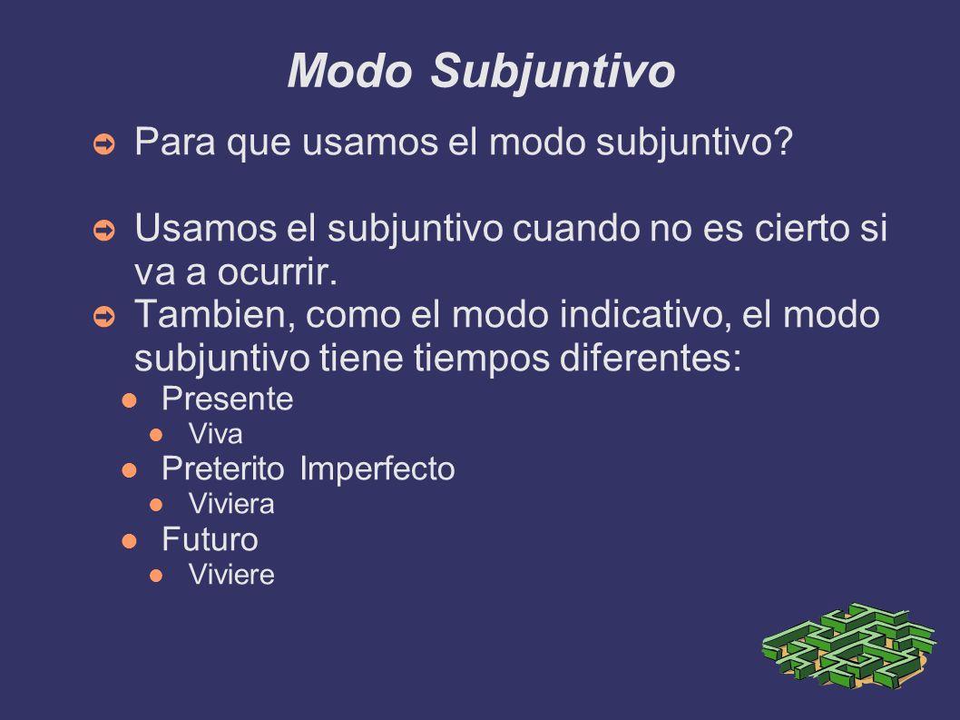 Modo Subjuntivo Para que usamos el modo subjuntivo