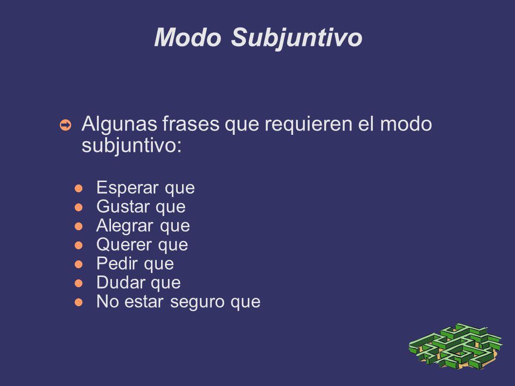 Modo Subjuntivo Algunas frases que requieren el modo subjuntivo: