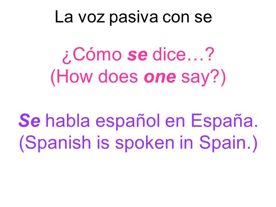 La voz pasiva con se ¿Cómo se dice…. (How does one say ) Se habla español en España.