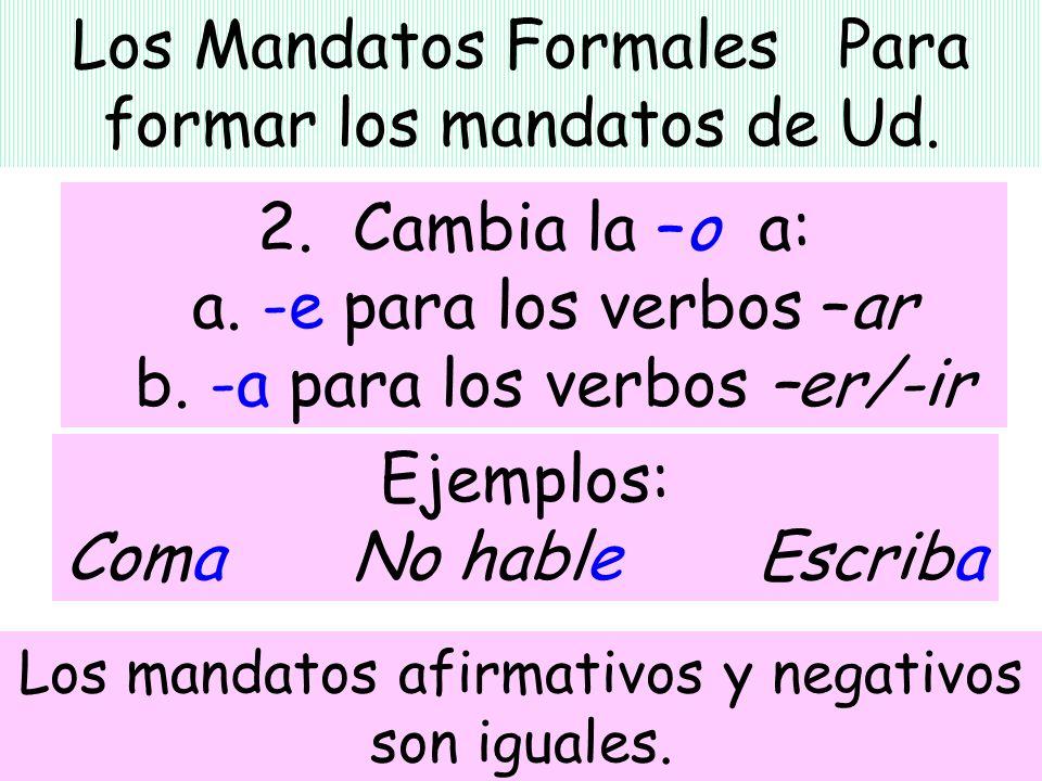 Los Mandatos Formales Para formar los mandatos de Ud.