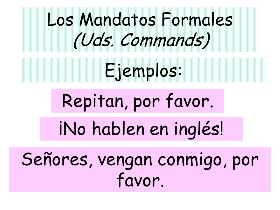 Los Mandatos Formales (Uds. Commands)
