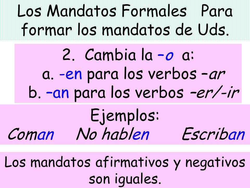 Los Mandatos Formales Para formar los mandatos de Uds.