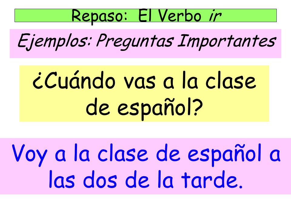 ¿Cuándo vas a la clase de español