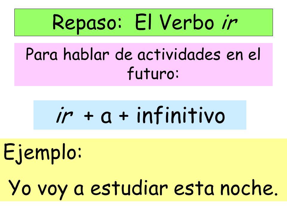 ir + a + infinitivo Repaso: El Verbo ir Ejemplo: