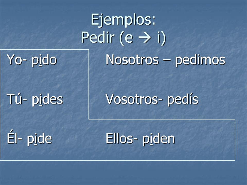 Ejemplos: Pedir (e  i) Yo- pido Nosotros – pedimos