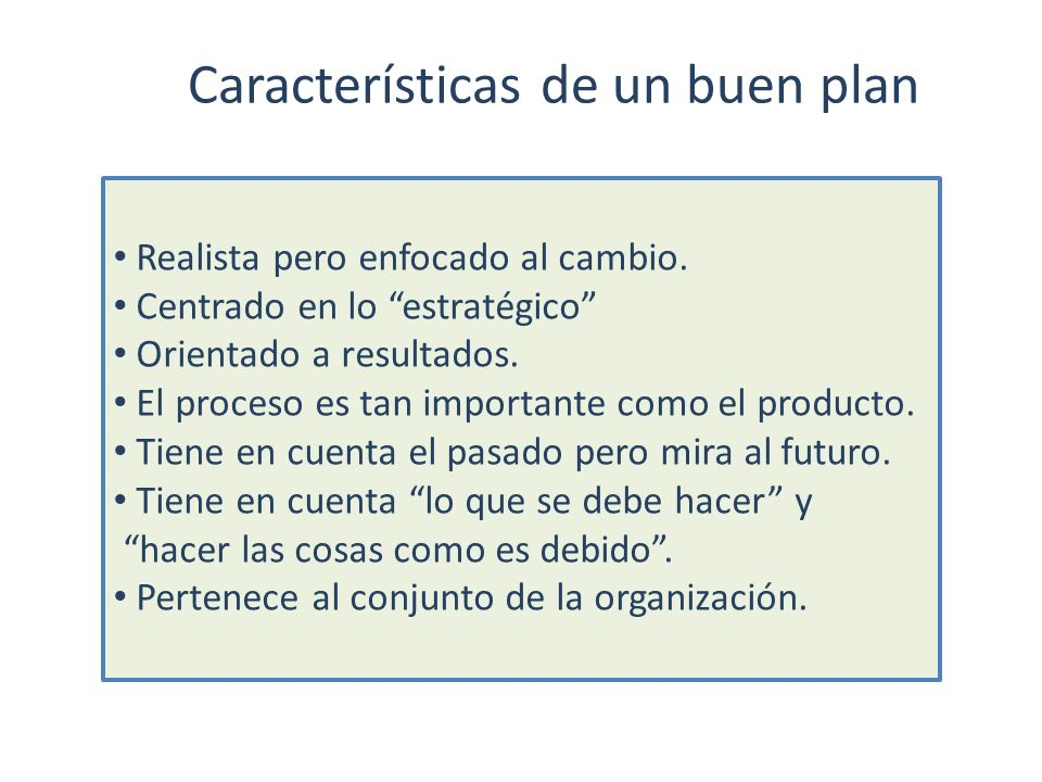 Características de un buen plan