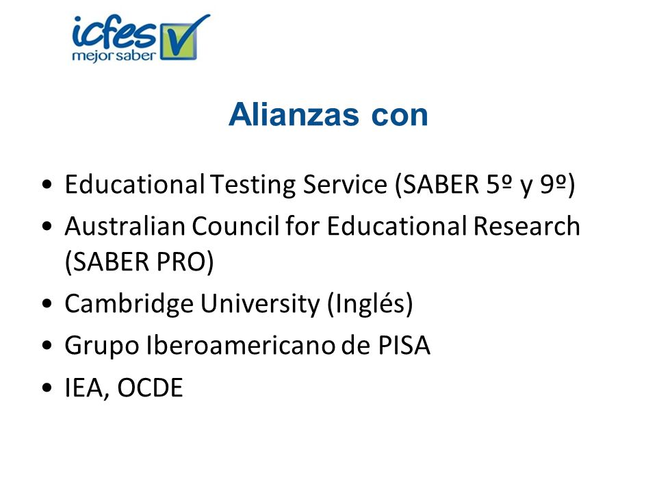 Alianzas con Educational Testing Service (SABER 5º y 9º)