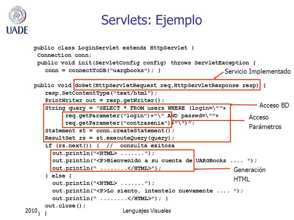 Servlets: Ejemplo Servicio Implementado Acceso BD Acceso Parámetros