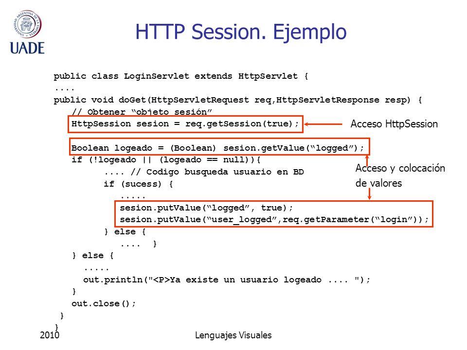 HTTP Session. Ejemplo Acceso HttpSession Acceso y colocación
