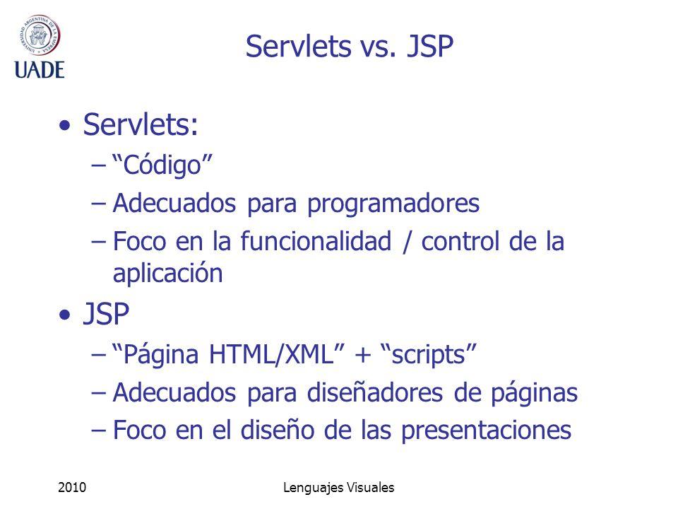 Servlets vs. JSP Servlets: JSP Código Adecuados para programadores
