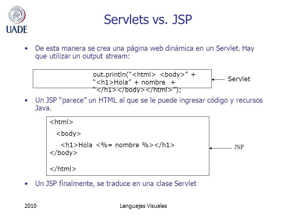 Servlets vs. JSP De esta manera se crea una página web dinámica en un Servlet. Hay que utilizar un output stream: