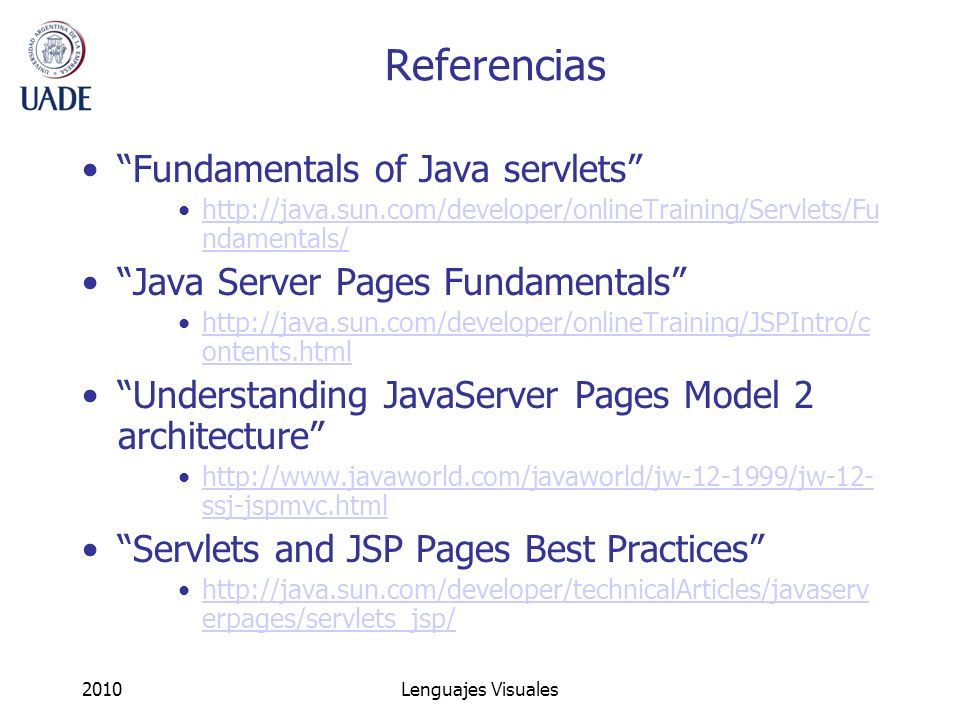 Referencias Fundamentals of Java servlets