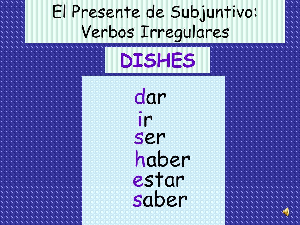 El Presente de Subjuntivo: Verbos Irregulares