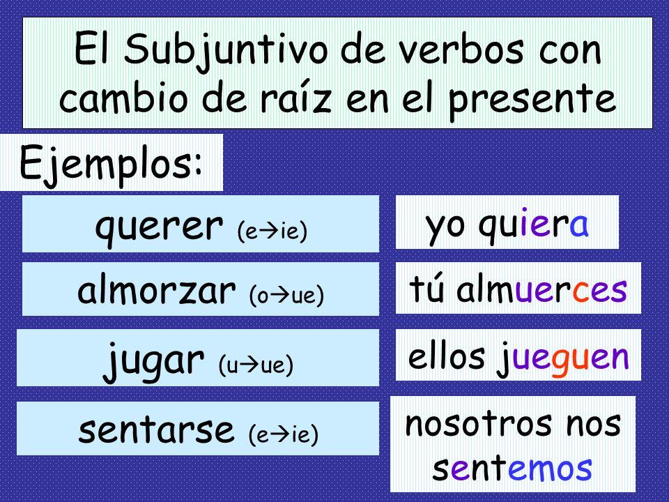 El Subjuntivo de verbos con cambio de raíz en el presente