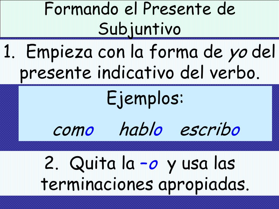 1. Empieza con la forma de yo del presente indicativo del verbo.