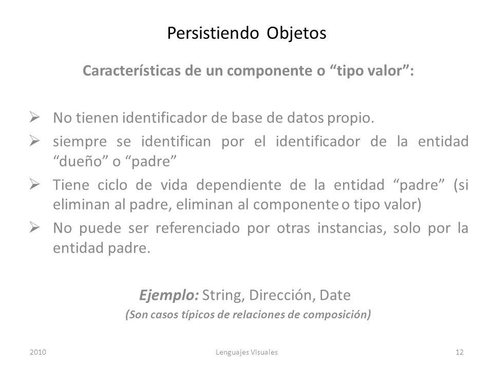 Persistiendo Objetos Características de un componente o tipo valor :