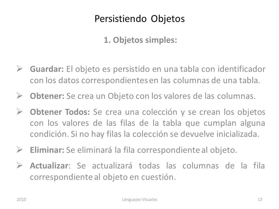 Persistiendo Objetos 1. Objetos simples: