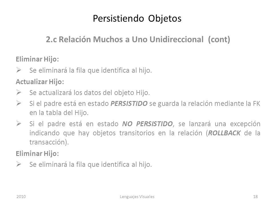 2.c Relación Muchos a Uno Unidireccional (cont)