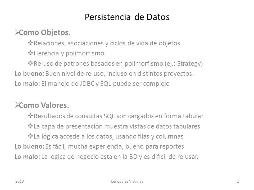 Persistencia de Datos Como Objetos. Como Valores.
