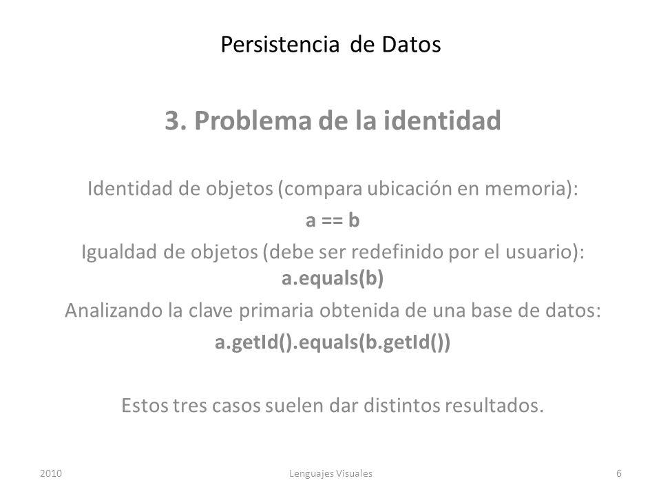 3. Problema de la identidad a.getId().equals(b.getId())