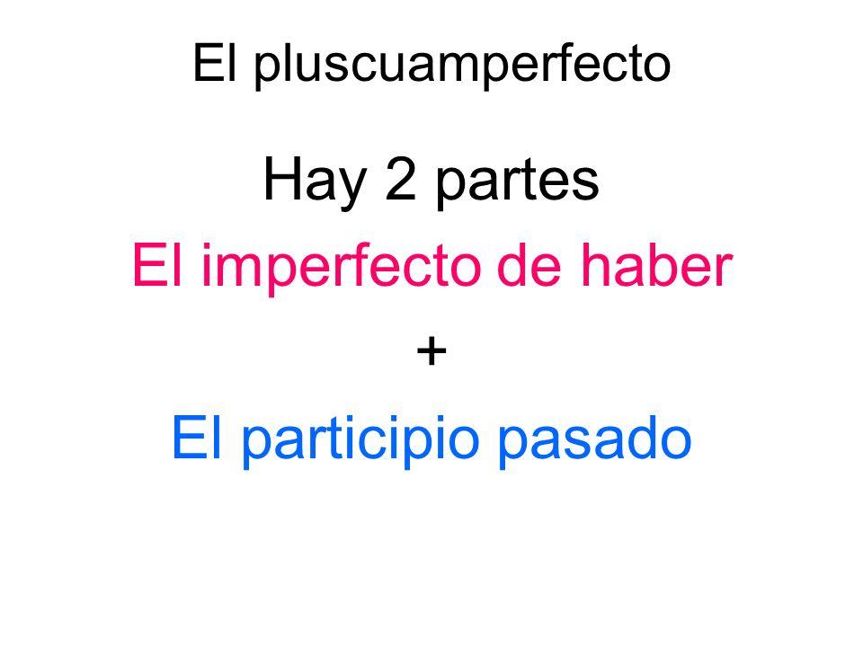 Hay 2 partes El imperfecto de haber + El participio pasado