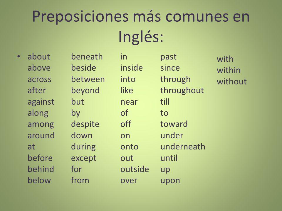 Preposiciones más comunes en Inglés: